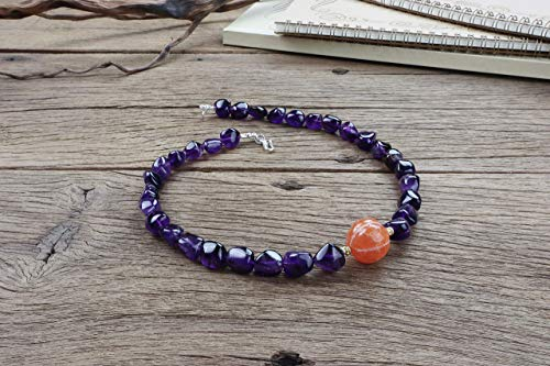 Untreated old carved Carnelian and Dark Amethyst Crystal tumble stone statement - Ethnic Silver Old Tribal Necklace