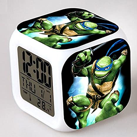 10fc61bb7b8ef Enjoy Life   Cute Digital Multifunctional Alarm Clock With Glowing Led  Lights and Ninja Turtles sticker ...