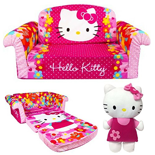 2-in-1 Flip Open Sofa & Lounger With Snuggle Pillow, Hello Kitty