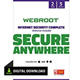 Webroot Internet Security Complete with Antivirus Protection - 2019 Software | 5 Device | 2 Year Subscription | PC Download
