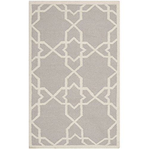 Safavieh Dhurries Collection DHU548G Hand Woven Grey and Ivory Premium Wool Area Rug (4' x 6')