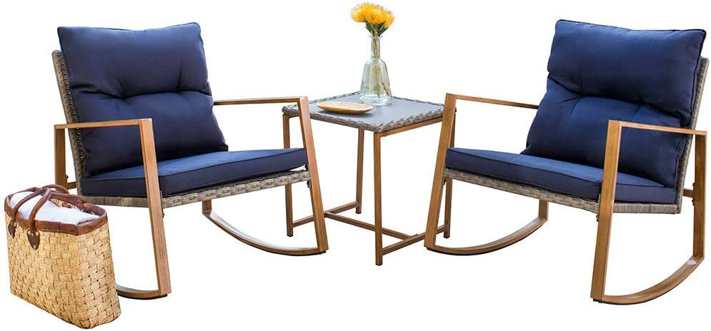 SUNCROWN Outdoor Rocking Chair 3-Piece Patio Bistro Set Grey Wicker Patio Furniture with Wood-Grain Arm Rest – Two Chairs with Glass Coffee Table Nautical Navy Cushion