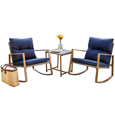 SUNCROWN Outdoor Rocking Chair Set 3-Piece Patio Bistro Set: Grey Wicker Patio Furniture W/Wood-Grain Arm Rest - Two Chairs with Glass Coffee Table (Nautical Navy Cushion)