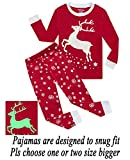 Dolphin&Fish Girls Pajamas Reindeer Glow-in-The-Dark Kids Pjs 100% Cotton Toddler Clothes Shirts Size 5T