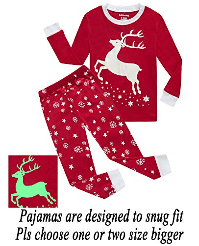 (Dolphin&Fish Girls Pajamas Reindeer Glow-in-The-Dark Kids Pjs 100% Cotton Toddler Clothes Shirts Size)