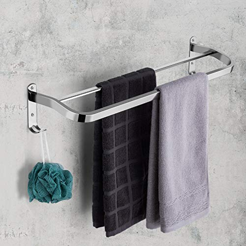 JOUBU Double Towel Bar,Dual bar Bathroom Towel Rack Heavy Duty 23 Inch Mirror Treatment Stainless Steel Holder Wall Mount Shelf Organizer Cloth Hanger with Hooks Contemporary Style (Towel Rack 23)