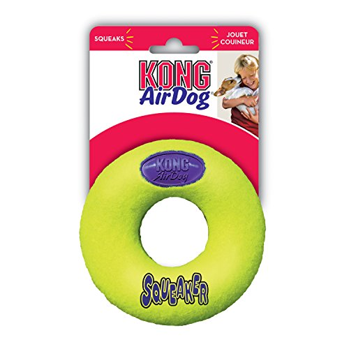 KONG Air Dog Squeaker Donut Dog Toy, Medium, Yellow