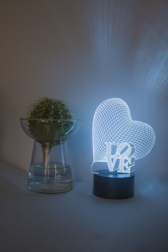 Loveboat USB Powered 7 Colors Amazing Optical Illusion 3D Glow LED Lamp Art Sculpture Lights Produces Unique Lighting Effects and 3D Visualization for Home Decor (LOVE) by Loveboat (Image #5)