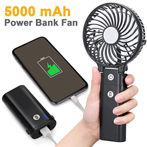 Gazeled Battery Fan Handheld, Small Battery Operated Fan, Rechargeable Fans Portable, USB Powered Hand Fan with 5000mAh Power Bank, Strong Wind for Travel, Camping, Outdoor, Hurricane(5-20H) -