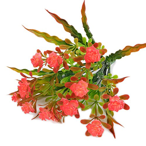 dezirZJjx Artificial Plants 1 Bouquet Artificial Rose Fake Plant Flower Home Office Wedding Party Decoration - Red