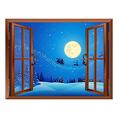 Alluring Creative Design, Cartoon Santa Claus and Reindeers at Full Moon Night Peel and Stick Removable Window View Wall Sticker Wall Mural, Made With Love