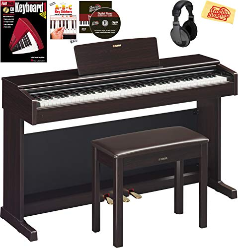 Fantastic Deal! Yamaha Arius YDP-144 Console Digital Piano - Rosewood Bundle with Furniture Bench, H...