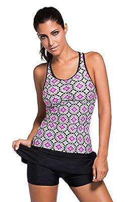 Aleumdr Women's Abstract Print Racerback Tankini Skirt Skort Swimsuit