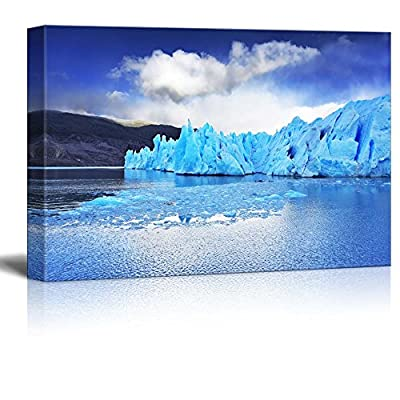 Beautiful Scenery of a Sharp Wind and The Cold Sun Over Blue Ice Iceberg Wall Decor, Quality Creation, Charming Style