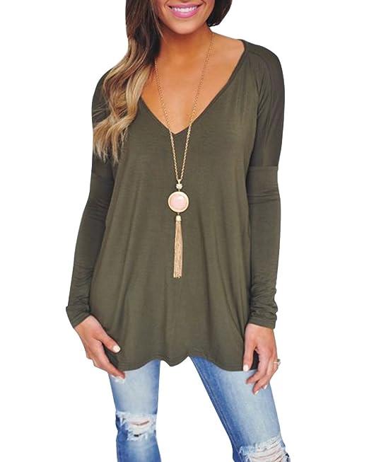 Mujer Relajado y Relajado Color Sólido Manga Larga Cuello V Blusas Camisa Tops Sudaderas Verde S