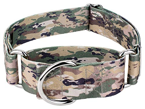 Country Brook Design 1 1/2 Inch Mountain Viper Camo Martingale Dog Collar-Large