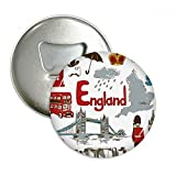 England Landscap Animals National Flag Round Bottle Opener Refrigerator Magnet Pins Badge Button Gift 3pcs