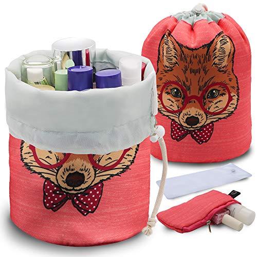 UYRIE Portable Makeup Toiletry Cosmetic Travel Organizer Bag, Large Drawstring Hanging Packing Bag for Women Girl Men, Lightweight Multifunctional Barrel Shaped Storage Bag (Smart Fox)