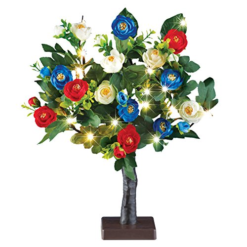 LED Lighted Red White Blue Rose Tree Table Centerpiece Decoration for Memorial Day, July 4th ()