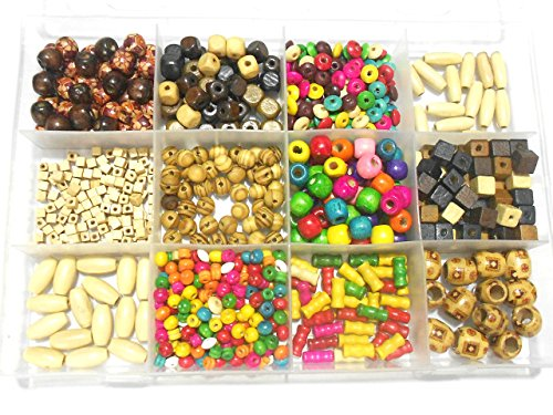 - GOELX Largest Collection of Craft Natural & Multicolored Wooden Beads 1000 Pc Kit for Jewellery Making & Craft Work !!