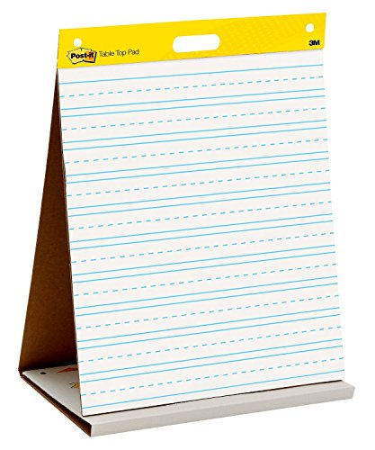 Post-it Super Sticky Tabletop Easel Pad, 20 x 23 Inches, 20 Sheets/Pad, 1 Pad (563PRL), Portable White Premium Self Stick Flip Chart Paper with Primary Lines, School Paper, Built-in Easel (Super Sticky Self Stick Easel)