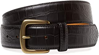 BRYANT PARK Alligator Grain Glazed Genuine Leather Belt. 1.5' Wide, Made in USA, in GIFT BOX