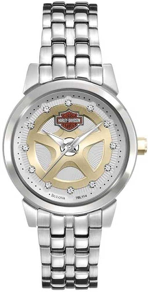 Harley Davidson 78L114 Bulova Spoke Reloj de acero inoxidable con esfera dorada y plateada