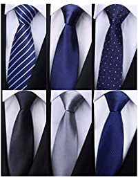 Pack of 6 Men's Classic Business Tie Silk Necktie Woven Jacquard Neck Ties