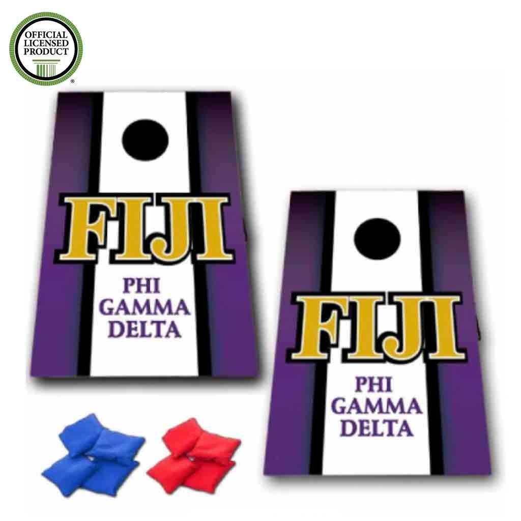 VictoryStore Cornhole Games - Fiji Cornhole Bag Toss Game - Vertical Stripe - 8 Bags Included