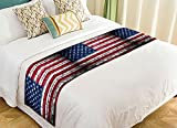 PicaqiuXzzz Custom American Flag Bed Runner, Brick Wall with Flag of United States Bed Runners And Scarves Bed Decoration 20x95 inch
