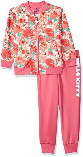 Knit Pant Girls - Hello Kitty Little Girls' Scuba Knit Bomber Jacket Pant Set, Pink 5
