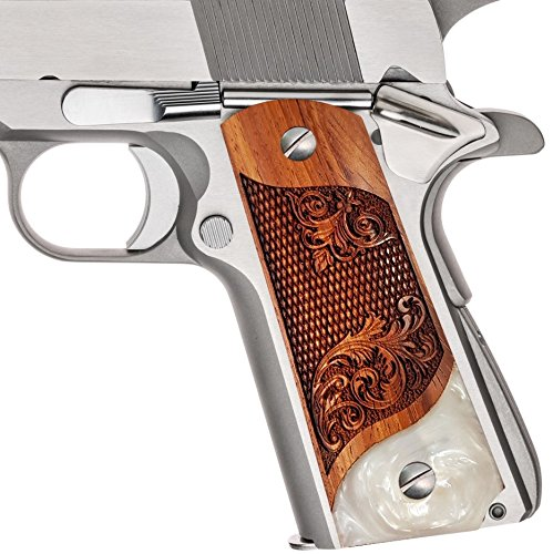 - 1911 Full Size Grips by Dan Eagle Grips Fleur-de-lis Design Faux Pearl & Solid Rosewood Fits Government & Commander Colt Sig S&W Kimber Solid Wood Free Grip Screws
