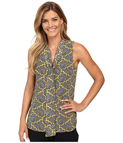 (Michael Michael Kors Paisley Printed Georgette Sleeveless Tie-Neck Blouse, Taxi Yellow (8))