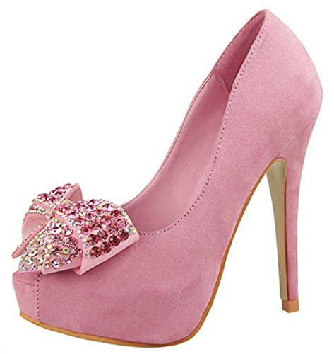 Donna Toe 1387 Rosa Pumps Peep Diamonds Hooh 5 Flanella qPx1w66