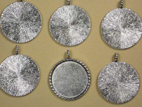 (Pendant Jewelry Making 30 Round Bezel Settings Pendants Mountings Trays Silver Finish)