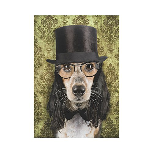 InterestPrint Retro Dog Stove Pipe Hat and Glasses Polyester