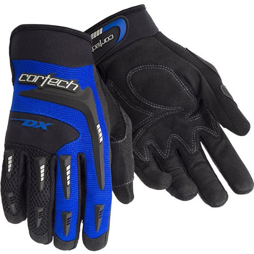 Cortech DX 2 Men's Textile Street Racing Motorcycle Gloves - Black/Blue / Large