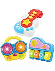 Portable Set of 3 (Piano, Bongo Drums, Guitar) Educational Toy for Music Learning and Entertainment for Ages 9 Months to 4 Years