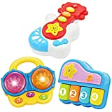 WEofferwhatYOUwant Portable Set of 3 (Piano, Bongo Drums, Guitar.) Educational Toy for Music Learning and Entertainment for Ages 9 Months to 4 Years.