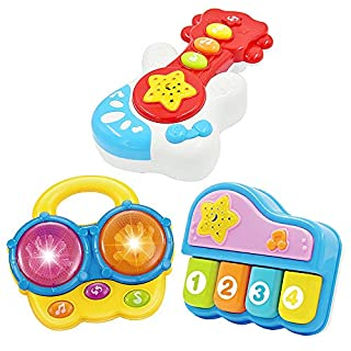 Portable Set of 3 (Piano, Bongo Drums, Guitar) Educational Toy for Music Learning and Entertainment for Ages 9 Months to 4 Years.