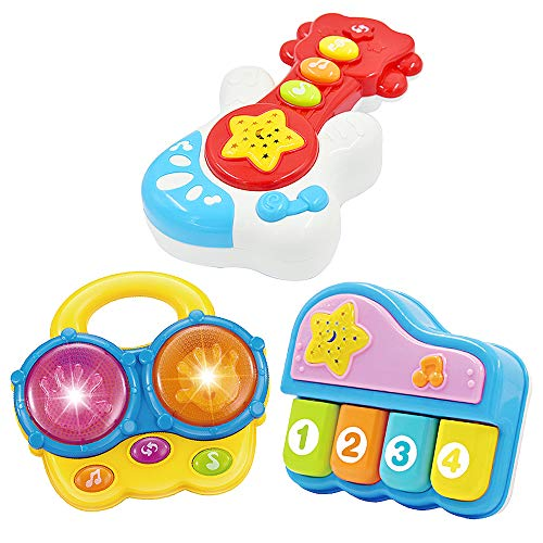WEofferwhatYOUwant Portable Set of 3 (Piano, Bongo Drums, Guitar.) Educational Toy for Music Learning and Entertainment for Ages 9 Months to 4 Years by WEofferwhatYOUwant