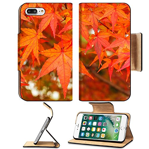 Luxlady Premium Apple iPhone 7 Plus Flip Pu Leather Wallet Case iPhone 7 Plus 23884538 Red maple leaves Filigree Forest Frame