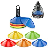 Abco Tech Disc Cone Set of 50 Flexible Multi Color (Red, Blue, Yellow, Green, Orange) Cones, With Plastic Carrier To Take It With You Everywhere – Perfect For Soccer, Football & Any Ball Game To Mark