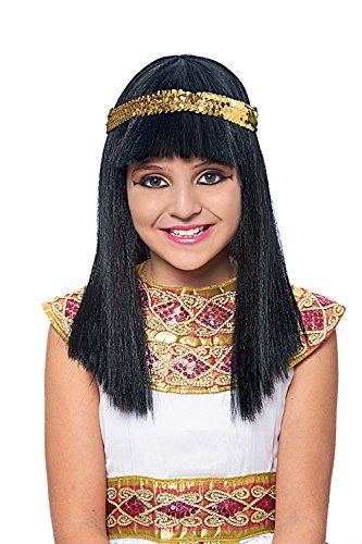 [Costume Culture Women's Cleopatra Child Wig, Black, One Size] (Ancient Egypt Costumes)