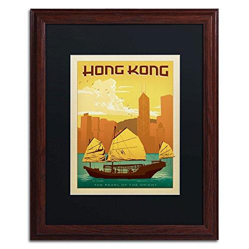 Wood Frame Hong Kong Wall Decor by Anderson Design Group, 16 by 20-Inch, Black (China Art Hong Kong)