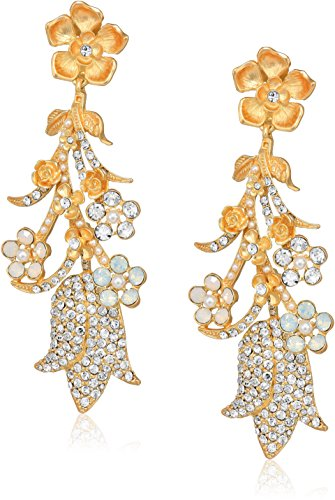 (Badgley Mischka Women's Drama Pave Flower Crystal Gold Clip On Earrings, One Size )