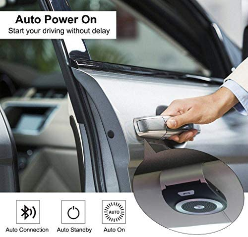 GPS Aigital Bluetooth Car Speaker Hands Free Kit Auto Power On Speakerphone with Motion Sensor for Clear Hands-Free Call Music Streaming Wireless in Car Visor Speaker for iPhone Samsung