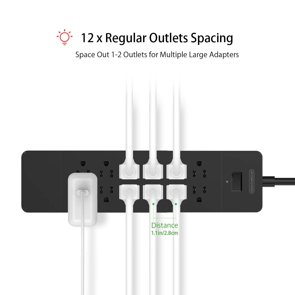 NTONPOWER Surge Protector Power Strip – 12 Outlets 4 USB Ports Flat Plug 5 ft Extension Cord Wall Mounted – Black