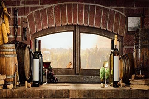 Leowefowa Rustic Wine Cellar Windowsill Scene Photography Background Vinyl 7x5ft Vintage Barrels Red Wine Champagne Goblets Grapes Backdrop Countryside Life Cowboy Photo Shoot Nostalgia Wallpaper