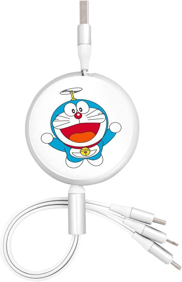 N//C Doraemon USB Round Three-in-One Data Cable Fast Charger Cable Connector Tpye-C Universal Interface Micro USB Port Adapter,Apple,Android